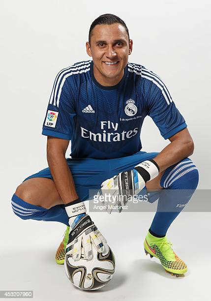 Keylor Navas poses during his official unveiling as a new Real Madrid player at Estadio Santiago Bernabeu on August 5 2014 in Madrid Spain