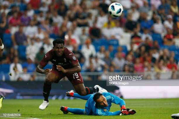 Keylor Navas save a shot by striker of AC Milan Kessie during the Santiago Bernabeu Trophy 2018 match between Real Madrid and AC Milan at the...