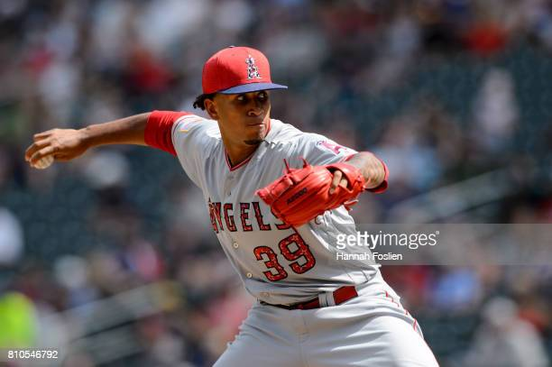Keynan Middleton of the Los Angeles Angels of Anaheim delivers a pitch against the Minnesota Twins during the game on July 4 2017 at Target Field in...