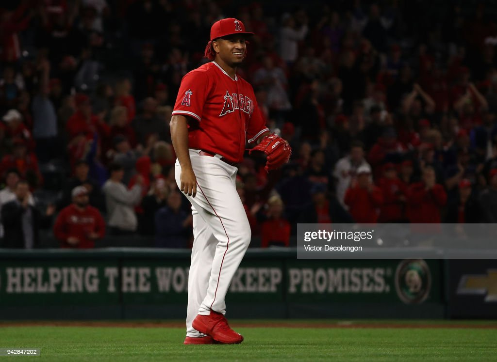 Keynan Middleton #39 of the Los Angeles Angels of Anaheim reacts after the last out of the game against the Oakland Athletics at Angel Stadium on April 6, 2018 in Anaheim, California. The Angels defeated the Athletics 13-9.
