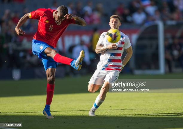 Keyner Brown of Costa Rica clears out the ball during a game between Costa Rica and USMNT at Dignity Health Sports Park on February 1 2020 in Carson...