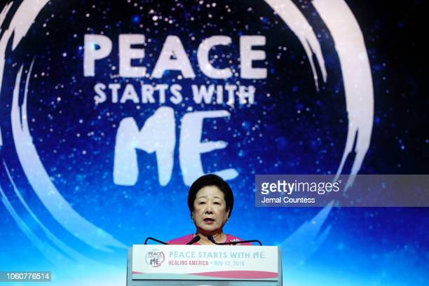 Keynote Speaker Dr Hak Ja Han Moon appears on stage during Peace Starts With Me concert at Nassau Coliseum on November 12 2018 in Uniondale New York
