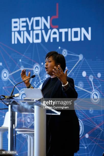 Keynote speaker Dr Mae Jemison addresses the delegates during the Beyond Innovation Summit at Levi's Stadium on May 23 2018 in Santa Clara California
