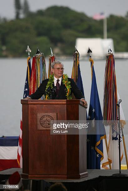 Keynote Speaker Tom Brokaw speaks during the 65th Anniversary Pearl Harbor Day Commemoration December 7 1941Japanese attack on Pearl Harbor was...