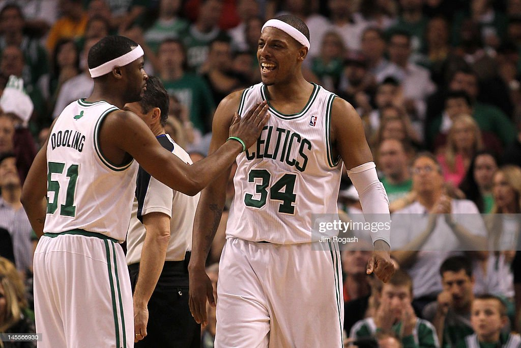 Keyon Dooling #51 and Paul Pierce #34 of the Boston Celtics react in the second half against the Miami Heat in Game Three of the Eastern Conference Finals in the 2012 NBA Playoffs on June 1, 2012 at TD Garden in Boston, Massachusetts.