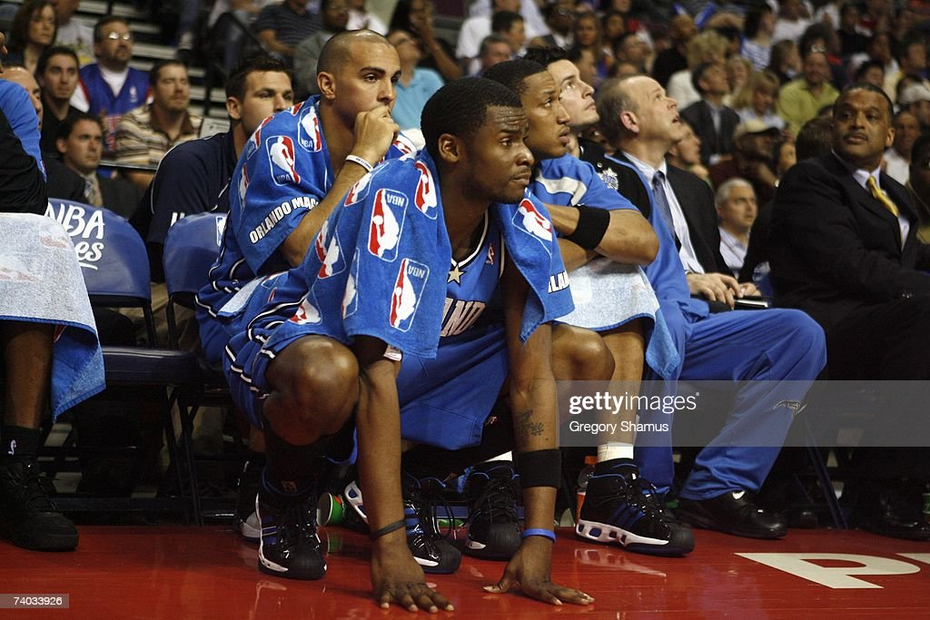 Keyon Dooling #5 of the Orlando Magic crouches near the bench in Game Two of the Eastern Conference Quarterfinals against the Detroit Pistons during the 2007 NBA Playoffs at the Palace of Auburn Hills on April 23, 2007 in Auburn Hills, Michigan. The Pistons won 98-90.