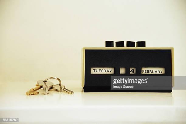 Keys and retro calendar