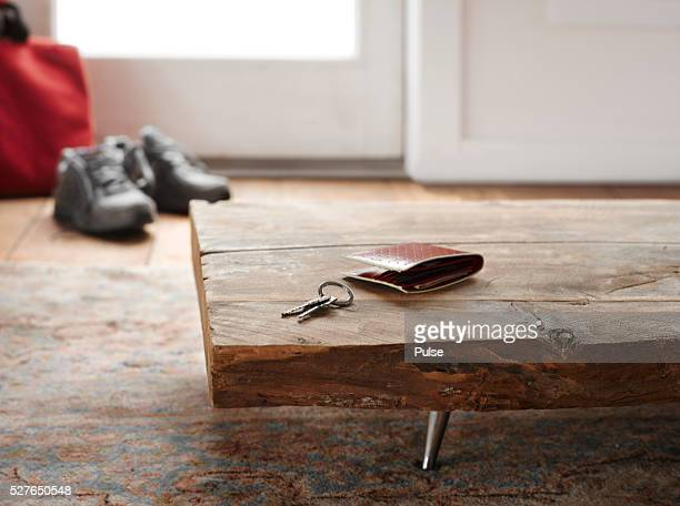 Keys and wallet on table