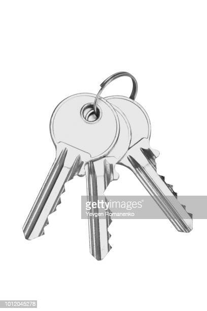 keys isolated on white background - house key stock photos and pictures
