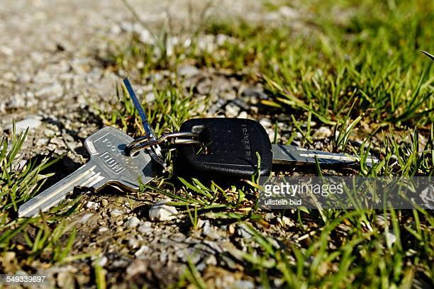 Keys laying in grass