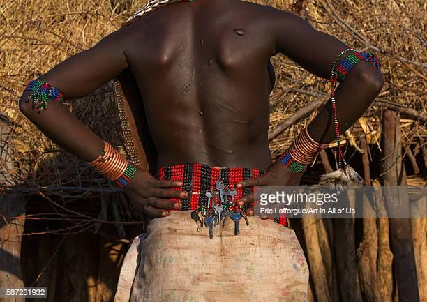 Keys on a beaded belt of a hamer tribe girl omo valley turmi Ethiopia on March 13 2016 in Turmi Ethiopia