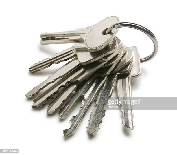 Keys on a key ring on white background