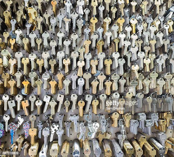 Keys on wall of locksmith