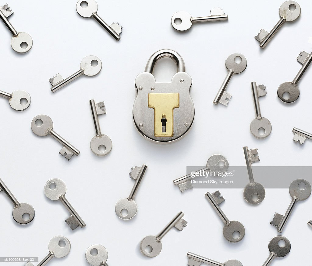 Keys with padlock, elevated view, close-up : Stock Photo
