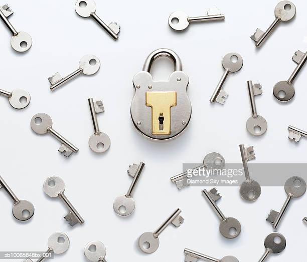 Keys with padlock, elevated view, close-up