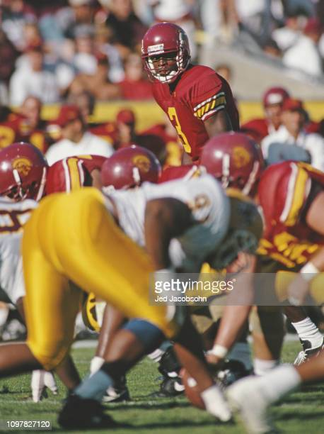 Keyshawn Johnson Wide Receiver for the University of Southern California USC Trojans prepares for the play during the NCAA Pac10 Conference college...