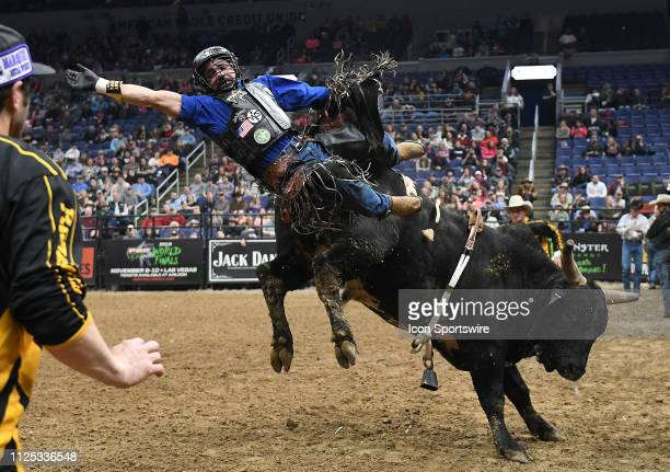 Keyshawn Whitehorse gets thrown by the bull Getting Western during the Professional Bullrider's Mason Lowe Memorial on February 15 at Enterprise...