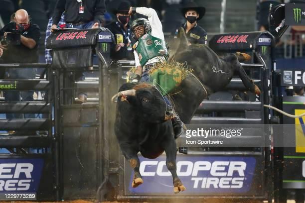 Keyshawn Whitehorse rides bull Chiseled during the PBR World Finals, on November 15th at the AT&T Stadium, Arlington, TX.