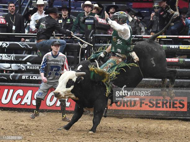 Keyshawn Whitehorse rides the bull Speed Demon during the final round of the Professional Bullriders Mason Lowe Memorial on February 16 at Enterprise...
