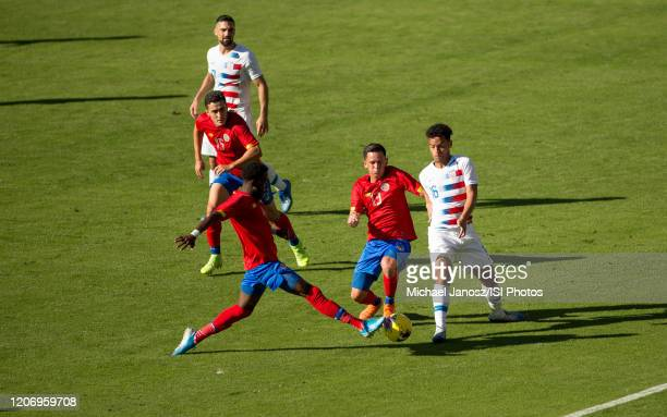 Keysher Fuller and Cristopher Nunez of Costa Rica battle with Brandon Servania of USA during a game between Costa Rica and USMNT at Dignity Health...