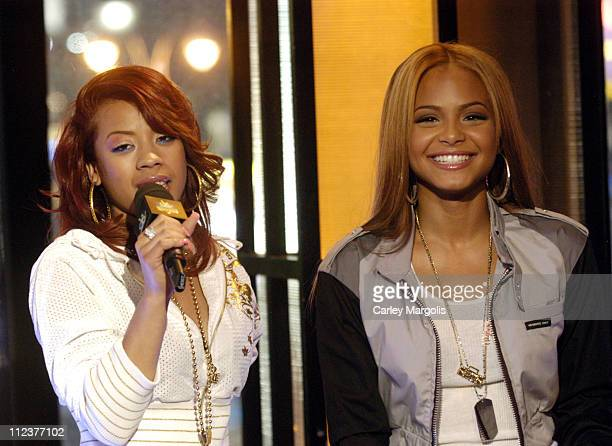 Keyshia Cole and Christina Milian during LL Cool J TI Christina Milian Keyshia Cole Nick Cannon Young Jeezy and Yung JOC Visit MTVs Direct Effect...