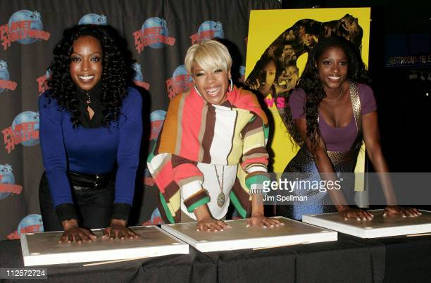 Keyshia Cole Rutina Wesley and Tre Armstrong attend a Handprint Ceremony at Planet Hollywood on January 24 2008 in New York City