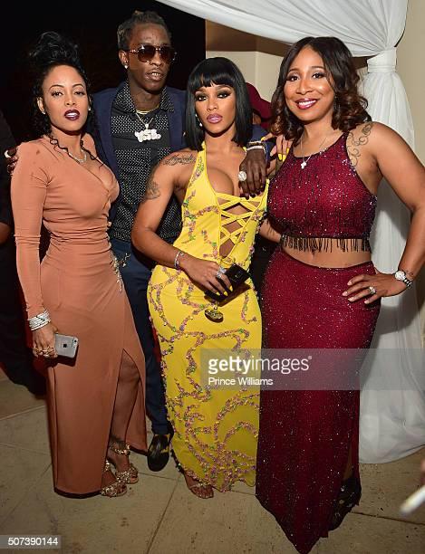 Keyshia Dior Young Thug and Joseline Hernandez attend Rick Ross Birthday Celebration at Rick Ross Mansion on January 28 2016 in Atlanta Georgia