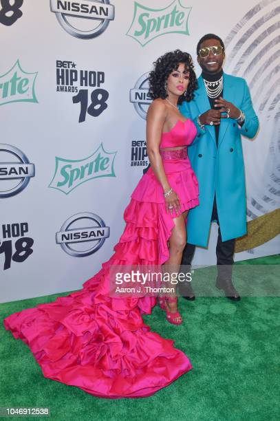 Keyshia Ka'Oir and Gucci Mane arrive to the BET Hip Hop Awards at the Fillmore Miami Beach on October 6 2018 in Miami Beach Florida