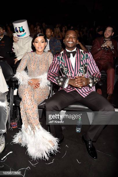 Keyshia Ka'Oir and Gucci Mane attend the 2018 MTV Video Music Awards at Radio City Music Hall on August 20 2018 in New York City
