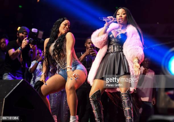 Keyshia Ka'oir and Nicki Minaj perform surprise performance at Hot 1079 Birthday Bash Pop Up Edition at Philips Arena on June 17 2017 in Atlanta...