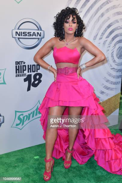Keyshia Ka'Oir arrives to the BET Hip Hop Awards at the Fillmore Miami Beach on October 6 2018 in Miami Beach Florida