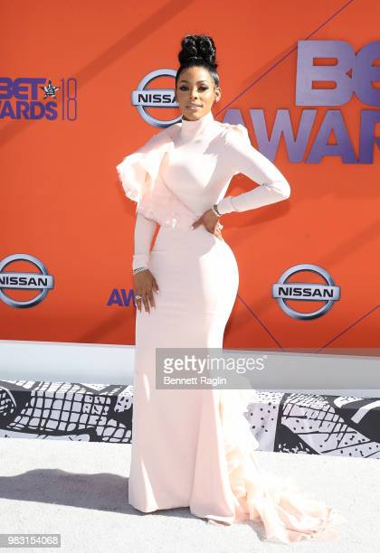 Keyshia Ka'Oir attends the 2018 BET Awards at Microsoft Theater on June 24 2018 in Los Angeles California