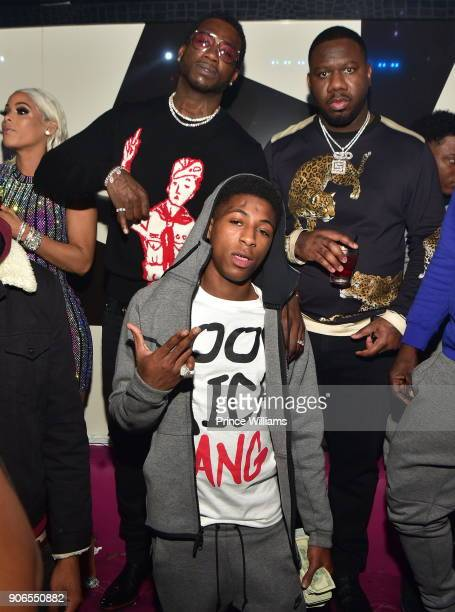 Keyshia Kaoir Gucci Mane NBA Young Boy and Pierre 'Pee' Thomas attend Keyshia Kaoir's Birthday Celebration at Gold Room on January 14 2018 in Atlanta...