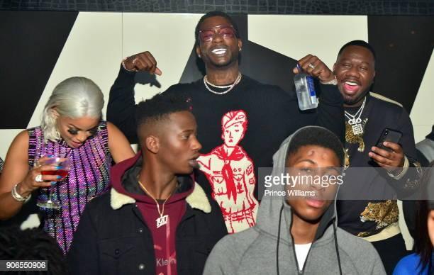 Keyshia Kaoir Gucci Mane NBA Young Boy and Pierre 'Pee' Thomas attend Keyshia Kaoir's Birthday Celebration at Gold Room on January 14 2018 in Atlanta...