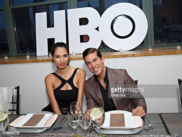 Keyshia Maisonet and TV personality/ real estate broker Luis D Ortiz attend the HBO Latino El Negocio Private Dinner on July 7 2015 in New York City