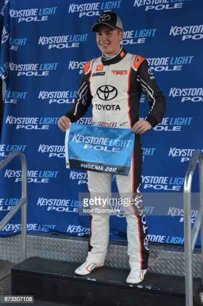 Keystone Light pole winner Truck Series Chase contender Christopher Bell Toyota at the NASCAR Playoff Lucas Oil 150 on November 10 2017 at the...