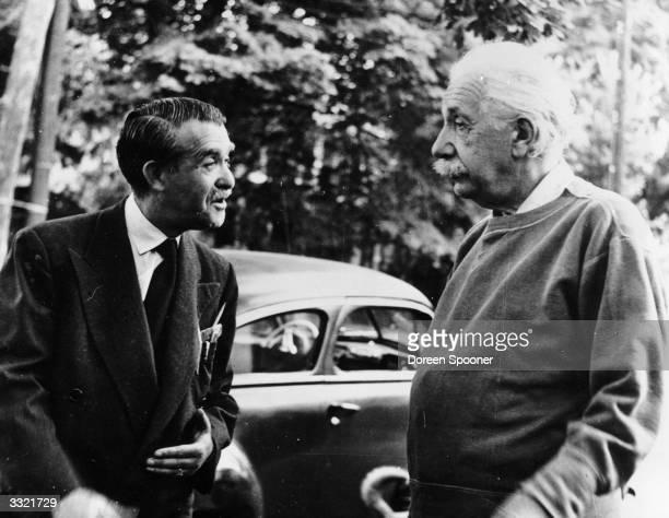Keystone Press founder Bert Garai and GermanSwissUS mathematical physicist Albert Einstein at his home in Princeton USA