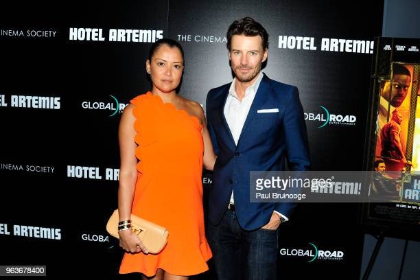 Keytt Lundqvist and Alex Lundqvist attend Global Road Entertainment With The Cinema Society Host A Screening Of 'Hotel Artemis' at Laduree Soho on...
