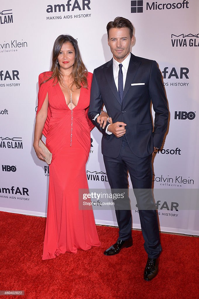 Keytt Lundqvist (L) and Alex Lundqvist attend the amfAR Inspiration Gala New York 2014 at The Plaza Hotel on June 10, 2014 in New York City.