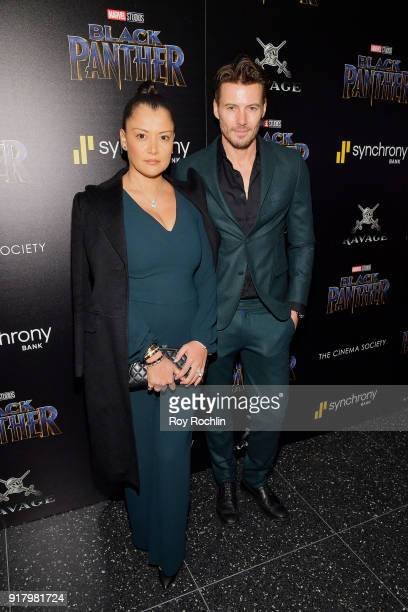 Keytt Lundqvist and Alex Lundqvist attend the screening of Marvel Studios' 'Black Panther' hosted by The Cinema Society on February 13 2018 in New...