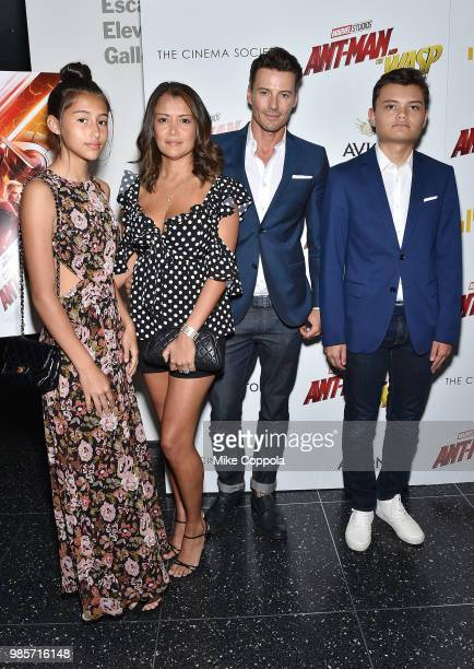 Keytt Lundqvist and Alex Lundqvist pose with their children at the screening of Marvel Studios' 'AntMan and The Wasp' hosted by The Cinema Society...