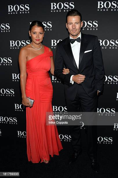 Keytt Lundqvist and model Alex Lundqvist attend HUGO BOSS celebrates Columbus Circle BOSS flagship opening featuring premiere of 'Anthropocene' by...