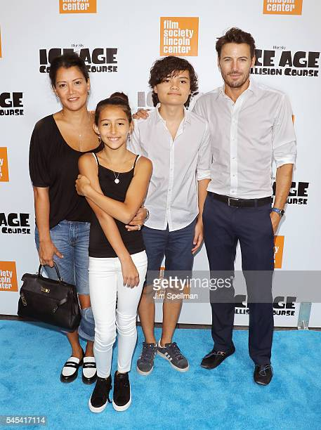 Keytt Lundqvist model Alex Lundqvist and children attend the 'Ice Age Collision Course' New York screening at Walter Reade Theater on July 7 2016 in...