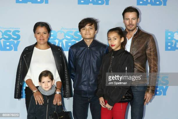 Keytt Lundqvist model Alex Lundqvist and family attend 'The Boss Baby' New York premiere at AMC Loews Lincoln Square 13 theater on March 20 2017 in...