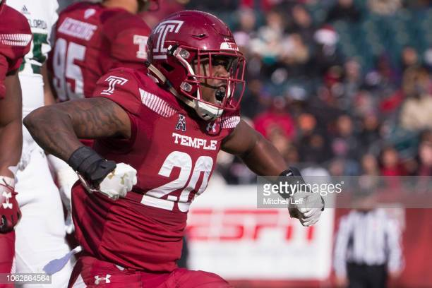 Keyvone Bruton of the Temple Owls reacts after making a tackle in the second quarter against the South Florida Bulls at Lincoln Financial Field on...