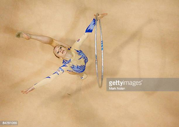 Keziah Gore of Great Britain performs during Rhythmic Gymnastics on day two of the Australian Youth Olympic Festival at the Sydney Olympic Park...