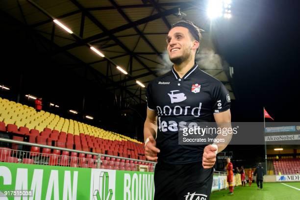 Keziah Veendorp of FC Emmen celebrates the victory during the Dutch Jupiler League match between Go Ahead Eagles v FC Emmen at the De Adelaarshorst...