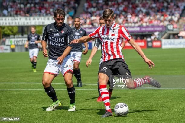 Keziah Veendorp of FC Emmen Stijn Spierings of Sparta Rotterdam during the Dutch Jupiler League playoffs final match between Sparta Rotterdam and FC...