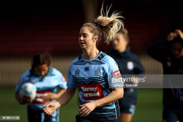 Kezie Apps of the Blues runs during the New South Wales women's State of Origin captain's run at North Sydney Oval on June 21 2018 in Sydney Australia