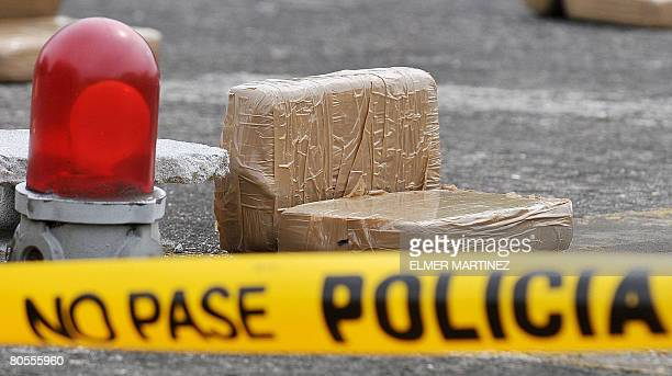 1510 kg of confiscated cocaine is exhibited to the press before being loaded into truck by the Panamanian National Police in Panama City on April 7...
